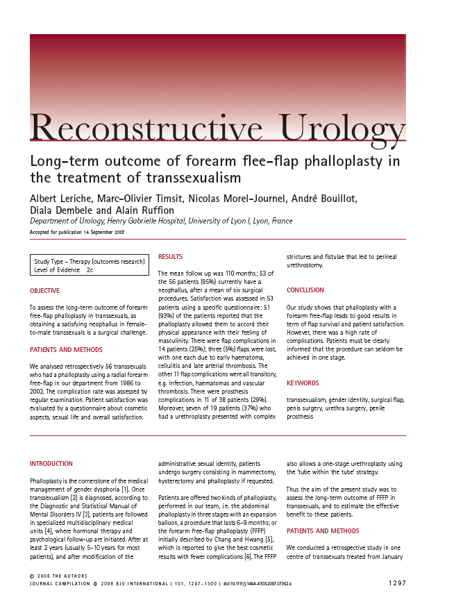 Long-term outcome of forearm flee-flap phalloplasty in
