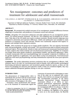 Sex reassignment outcomes and predictors of treatment